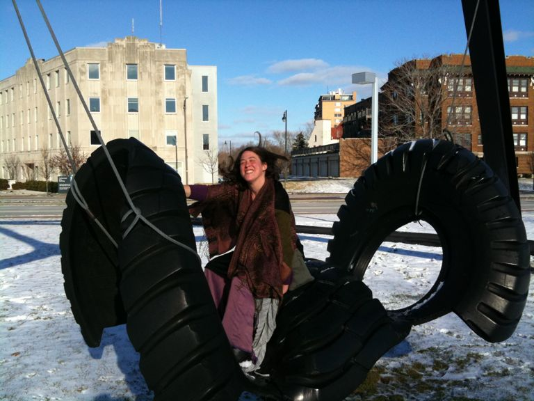 Photo of: Alexis on the tire swing at the Toledo Museum of Art